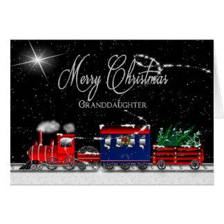 Christmas - Granddaughter - Snowy Night-Train Card