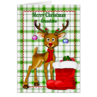 CHRISTMAS - GRANDSON - REINDEER CARD