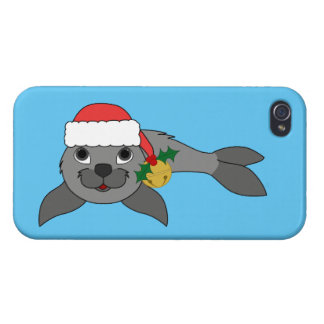 Christmas Gray Seal with Santa Hat & Gold Bell Case For iPhone 4
