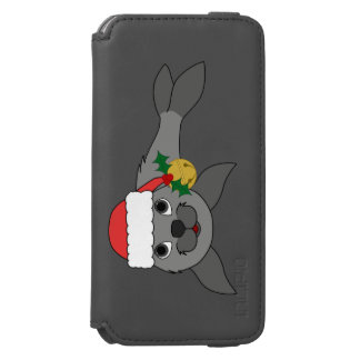 Christmas Gray Seal with Santa Hat & Gold Bell Incipio Watson™ iPhone 6 Wallet Case