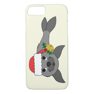 Christmas Gray Seal with Santa Hat & Gold Bell iPhone 7 Case