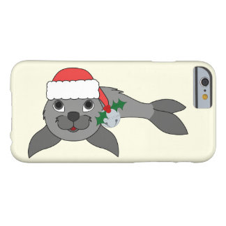 Christmas Gray Seal with Santa Hat & Silver Bell Barely There iPhone 6 Case