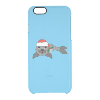 Christmas Gray Seal with Santa Hat & Silver Bell Clear iPhone 6/6S Case