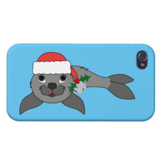 Christmas Gray Seal with Santa Hat & Silver Bell iPhone 4 Case