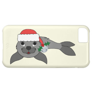 Christmas Gray Seal with Santa Hat & Silver Bell iPhone 5C Case