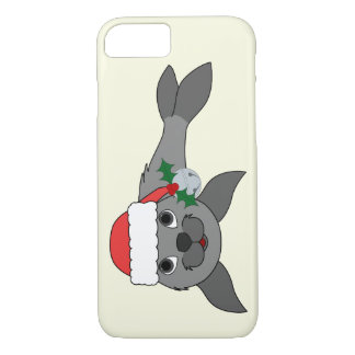 Christmas Gray Seal with Santa Hat & Silver Bell iPhone 7 Case