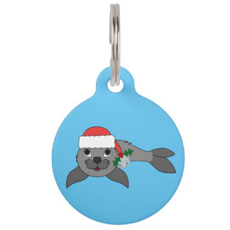 Christmas Gray Seal with Santa Hat & Silver Bell Pet ID Tags