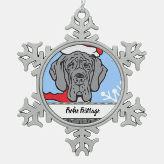 Christmas Great Dane Face Snowflake Pewter Christmas Ornament