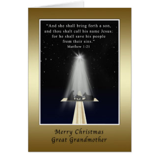 Christmas, Great Grandmother,  Religious Greeting Card