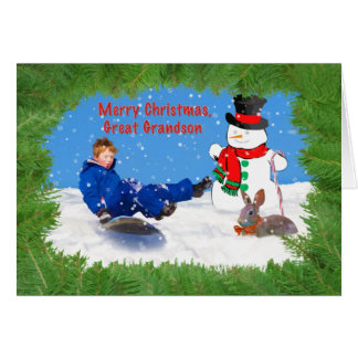 Christmas, Great Grandson, Boy on Sled, Snowman Card