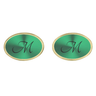 Christmas Green and Gold Oval Monogram Cufflinks Gold Finish Cufflinks