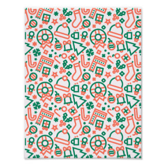Christmas Green and Red Icons Pattern Photograph