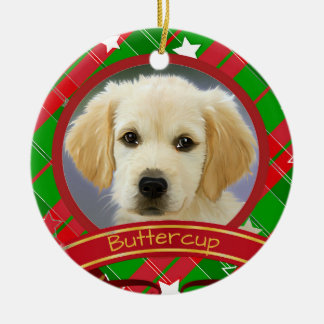 Christmas Green and Red Personalized Pet Dog Photo Ceramic Ornament