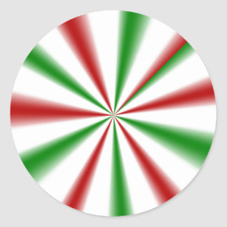 CHRISTMAS GREEN AND RED STRIPES+gifts Classic Round Sticker