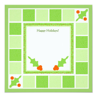 Christmas Green Blocks and Holly Invites/Cards 13 Cm X 13 Cm Square Invitation Card
