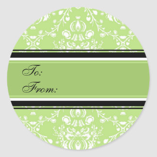 Christmas Green Damask Gift Tags Round Sticker