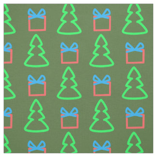 Christmas Green Doodle Trees and Gifts Pattern Fabric