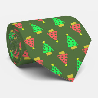 Christmas Green Doodle Trees Pattern Tie