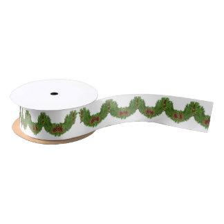 Christmas Green Garland Pattern Pine Cone Satin Ribbon