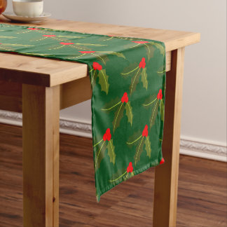Christmas Green Holly Pattern Table Runner