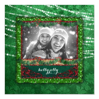 Christmas Green Lights Red Back Photo Card