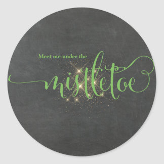Christmas Green Meet Me Under The Mistletoe Classic Round Sticker