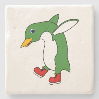 Christmas Green Penguin with Red Ice Skates Stone Coaster