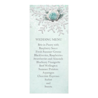 Christmas Green Roses Snowflakes Wedding Menu Personalized Invitations
