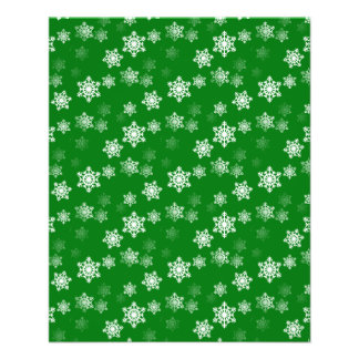 Christmas Green Snow Flurries Pattern Flyer