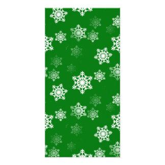 Christmas Green Snow Flurries Pattern Photo Card