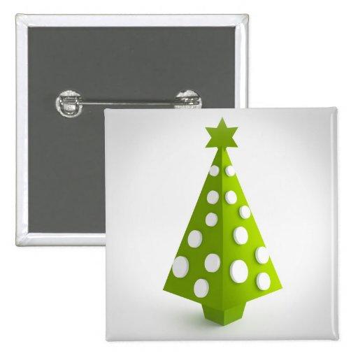 Christmas green tree button