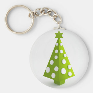 Christmas green tree basic round button key ring