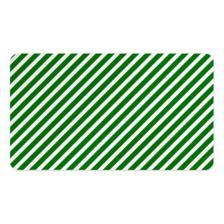 Christmas Green & White Diagonal Candy Cane Stripe Business Card