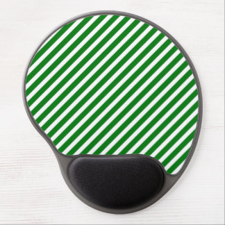 Christmas Green & White Diagonal Candy Cane Stripe Gel Mouse Pads