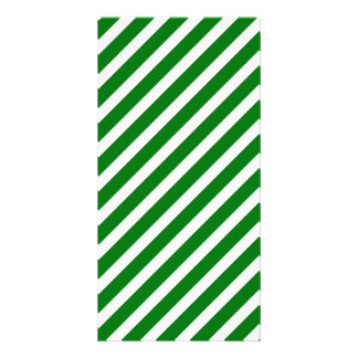 Christmas Green & White Diagonal Candy Cane Stripe Custom Photo Card