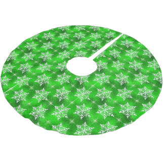 Christmas Green with White Snowflakes Brushed Polyester Tree Skirt