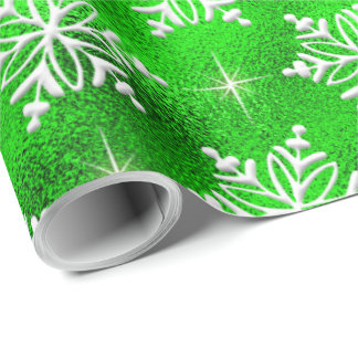 Christmas Green with White Snowflakes Wrapping Paper