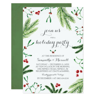 Christmas Greenery Party, Rehearsal Dinner Card