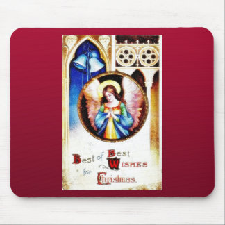 Christmas greeting as an angel praying church behi mousepads