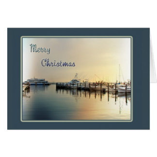 Christmas Greeting Card - Boats In Harbor  Sunrise