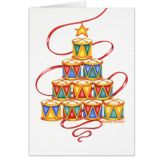 Christmas Greeting Card  Christmas Tree Of Drums
