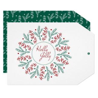 Christmas greeting card. Holly Jolly. Card