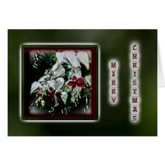 Christmas Greeting Card - Red & White Fuschia
