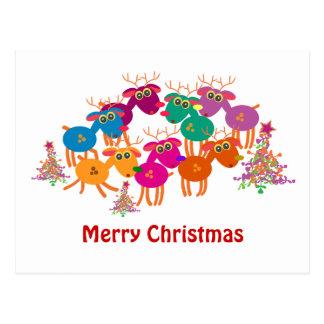 Christmas greeting cards: 7 Deers II Postcard