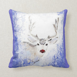 Christmas Greeting Deer Blue Snowflakes Throw Pillow