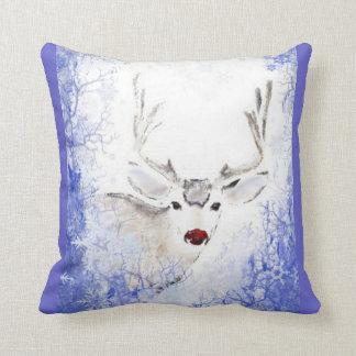 Christmas Greeting Deer Blue Snowflakes Cushion