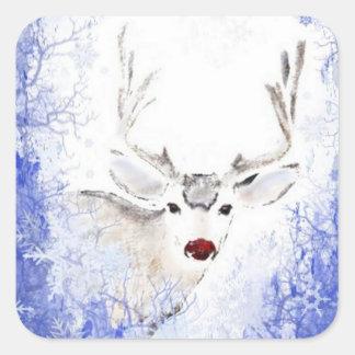 Christmas Greeting Deer Blue Snowflakes Square Sticker