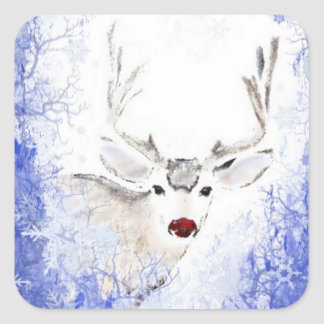 Christmas Greeting Deer Blue Snowflakes Square Sticker