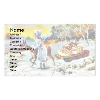 Christmas greeting kids playing with toys business card templates