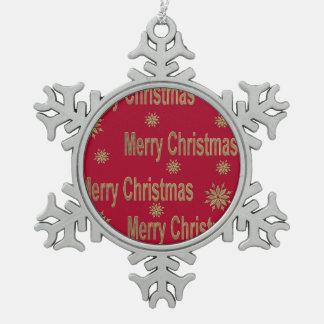 Christmas greeting pewter snowflake decoration